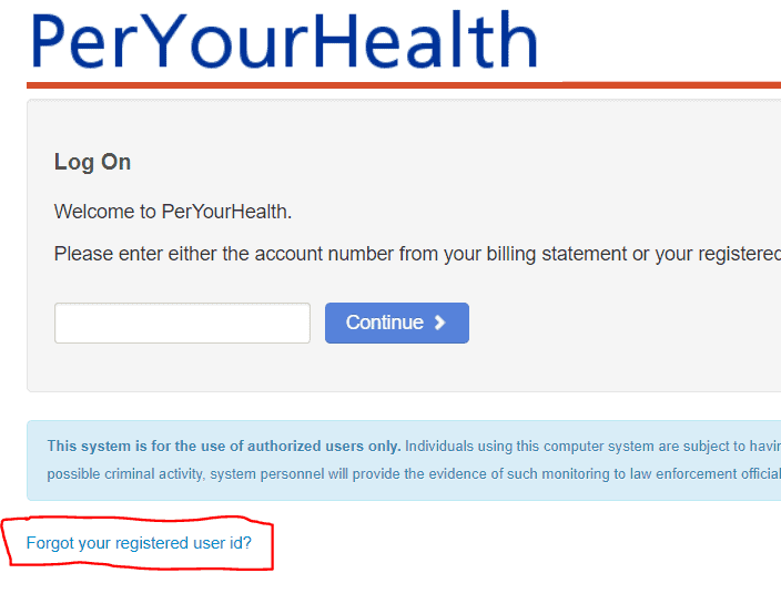 Recover Peryourhealth Userid and Password