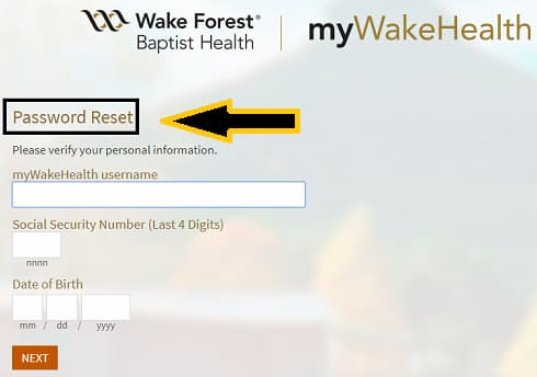 Reset myWakeHealth-Password